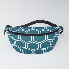 Teal blue and white honeycomb pattern Fanny Pack