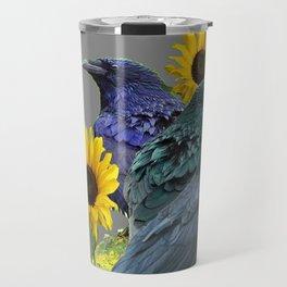 THREE CROWS/RAVENS  YELLOW SUNFLOWERS ON GREY ART Travel Mug