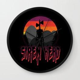 Scary Siren Head vintage sunset meme  Wall Clock
