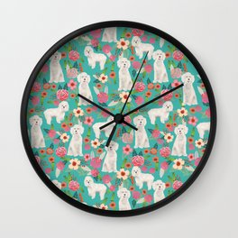 Cockapoo floral dog breed dog pattern pet friendly cocker spaniel poodle Wall Clock