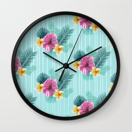 Cool blue base pink floral texture Wall Clock