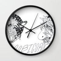 boob Wall Clocks featuring boobicorn by Kira Leigh