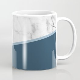 Real White Marble Half Ocean Sapphire Steel Blue Coffee Mug