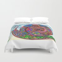 snail Duvet Covers featuring Snail by WelshPixie