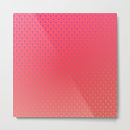 Ombre rainbow stars on red background Metal Print