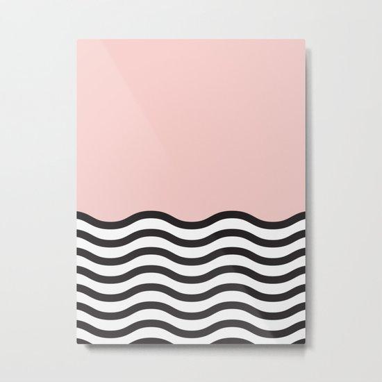 Waves of Pink Metal Print