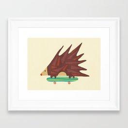 Hedgehog in hair raising speed Framed Art Print