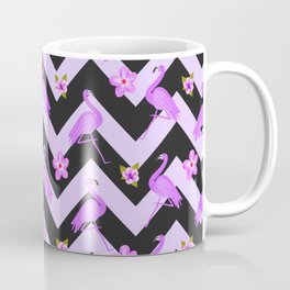 Black and Purple Zig Zag With Flamingos and hawaiian flowers Pattern Coffee Mug