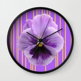 Lilac Colored Pansy Purple Striped Pattern Art. Wall Clock