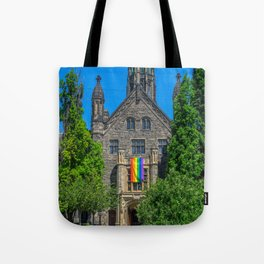 Church With LGBT Pride Flag Tote Bag