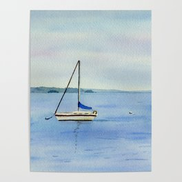 Boat in Maine Watercolor Painting Poster