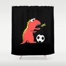 Black Cartoon Dinosaur Soccer Shower Curtain