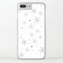 Twinkle Snowflake -Silver Grey & White- Clear iPhone Case