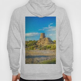 Ancient building of stone over blue cloudy sky, Spain Hoody