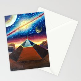 The Cydonia D&M pyramid the face on Mars and the milky way Stationery Cards