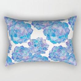 Rosette Succulents – Blue Palette Rectangular Pillow