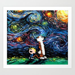 calvin hobbes stary night Art Print