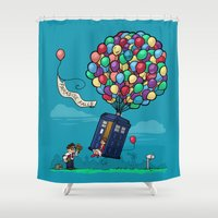 carl sagan Shower Curtains featuring Come Along, Carl by Karen Hallion Illustrations