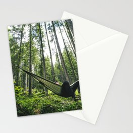 man resting on the hammock Stationery Cards