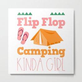 Girls Camping Flip Flops Metal Print