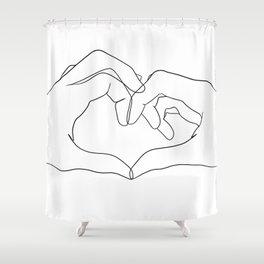 line art heart hands Shower Curtain
