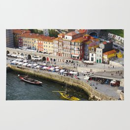 Porto's Ribeira and the Douro River. With two Rabelo boats. Rug