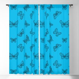 Black Butterflies Stencil Seamless Pattern on Turquoise Background Blackout Curtain