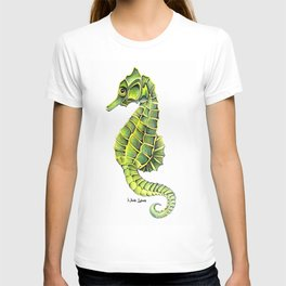 Sea Horse Green Yellow Sea Life Ocean Underwater Creature T-shirt