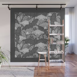 Vintage Grey Bats White Lilies Wall Mural