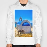 greece Hoodies featuring Mykonos, Greece by 33bc