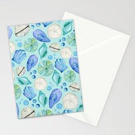 Aqua Seashells Down By The Seashore Stationery Cards
