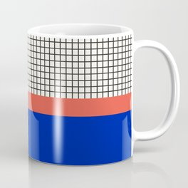 Electric Blue & Coral Orange Colour Block Check Pattern Coffee Mug