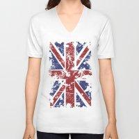 uk V-neck T-shirts featuring Grunge UK by Sitchko Igor