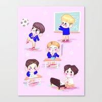 shinee Canvas Prints featuring school shinee by sophillustration