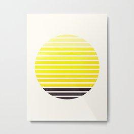 Yellow Mid Century Modern Minimalist Scandinavian Colorful Stripes Geometric Pattern Round Circle Fr Metal Print