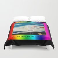bible verse Duvet Covers featuring THE BIBLE by KEVIN CURTIS BARR'S ART OF FAMOUS FACES