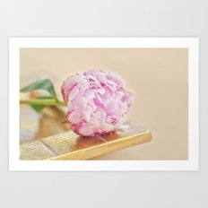 PEONY WITH GOLD Art Print