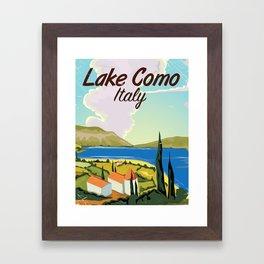 Lake Como Italian vintage travel poster print Framed Art Print