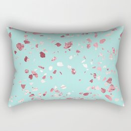 Turquoise and Rosegold Glitter Terrazzo Rectangular Pillow