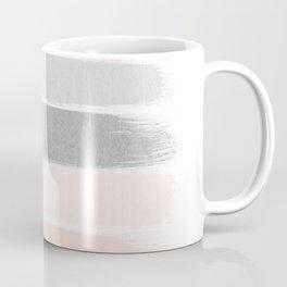 Grey and millennial pink stripes painted minimalist brushstrokes canvas art Coffee Mug