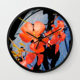 Geranium flowers on blue jean Wall Clock