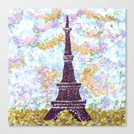 Eiffel Tower Pointillism by Kristie Hubler Canvas Print