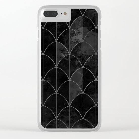 Mermaid scales in black and white. Clear iPhone Case