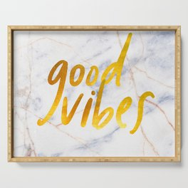 Good Vibes - Golden Lettering on Luxury Marble Serving Tray
