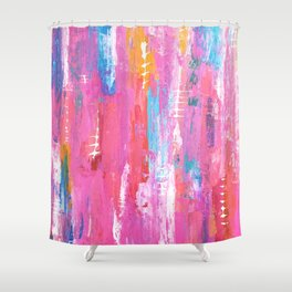 Abstract pink with fish bones Shower Curtain