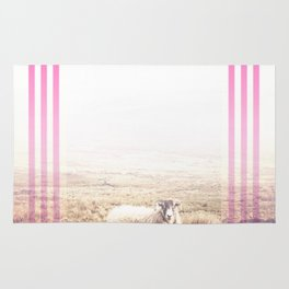 Sheep - pink graphic Rug