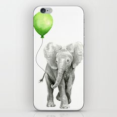 Baby Elephant Watercolor Green Balloon Neutral Color Nursery Decor iPhone & iPod Skin