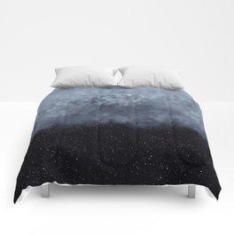 Blue veiled moon II Comforters