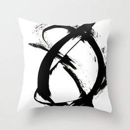 Brushstroke [7]: a minimal, abstract piece in black and white Throw Pillow
