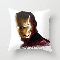 ironman Throw Pillows featuring Ironman by Emiliano Morciano (Ateyo)